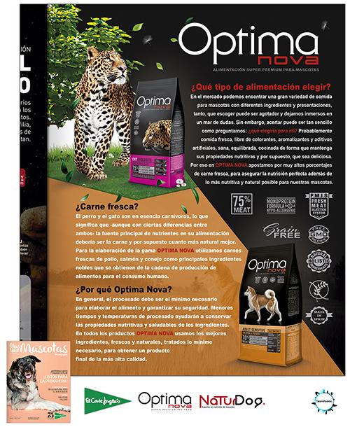 Publicidad OptimaNova, revista Más que Mascotas del Corte Inglés