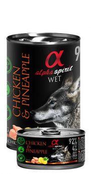 Alpha Spirit lata con un 92% pollo y 4% de piña