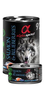 Alpha Spirit lata con un 92% de salmón y 4% de arándanos