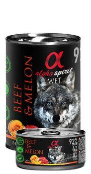 Alpha Spirit lata con un 92% ternera y 4% de melón