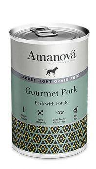 Amanova adult light gourmet pork, con un 92% de carne de cerdo y 4% de papas