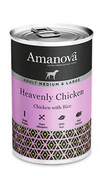 Amanova adult medium large heavenly chicken, con 92% de carne de pollo y 4% de arroz