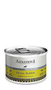 Amanova adult mini divine rabbit, con un 92% de carne de conejo y 4% de papas.